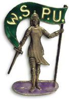 The Joan of Arc figure made to be worn as a political pin for the Votes for Women movement in the UK in the 1920s.