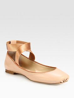 Chloé - Leather Ballet Flats - Saks.com (The shoes  Jenna Dewan-Tatum was wearing in her grey striped dress....these are my dream pregnancy shoe! I should have known they would be crazy-out-of-my-price-range!!! $485!! DIY time!)