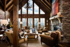Log Home - Log Cabin Homes....I love the windows! Must have!