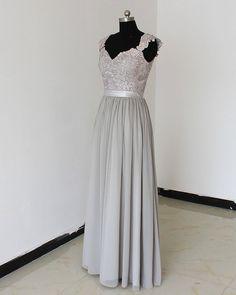 Grey Prom dress Bridesmaid Dress Lace&Long Bridesmaid by hytdress, $159.00