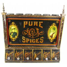 Pure Spice Tin Store Bin. Beautiful graphics and stenciling. Awesome condition ~ sold.