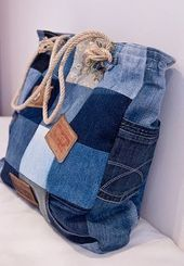74 Awesome DIY ideas to recycle old jeans, DIY and Crafts, 74 AWESOME ideas to recycle jeans Diy Jeans, Sewing Jeans, Diy With Jeans, Diy Denim Purse, Patchwork Denim, Denim Quilts, Denim Fabric, Artisanats Denim, Denim Bags From Jeans