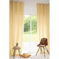 Ösenvorhang aus Baumwolle ockergelb 110 x 270 cm MANICATA > 50,-