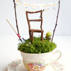 A step-by-step tutorial on how to make a delightful Fairy Garden in a pretty tea cup.