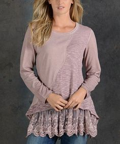 Loving this Pink Eyelet-Layer Long-Sleeve Tunic on #zulily! #zulilyfinds
