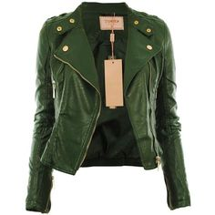 See this and similar jackets - Diana New Womens Faux Leather Biker Gold Button Zip Crop Ladies Jacket Coat: Free UK Shipping on Orders Over and Free Vegan Leather Jacket, Faux Leather Jackets, Coats For Women, Jackets For Women, Ladies Jackets, Gold Jacket, Green Jacket, Green Blazer, Green Coat