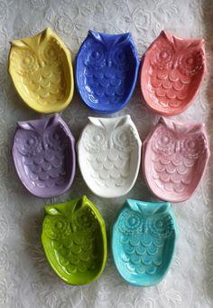 Chouette thé sac titulaire cuillère Trinket plat Soap Dish Chouette Maison de repos DecorOwl bijou ou savon anniversaire grand ou enseignant de