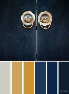 blue and gold color scheme ,color palette inspired by old door - Looking for color inspiration? At fab mood you will find of beautiful color palette, color palette inspired by nature,landscape , Color Schemes Colour Palettes, Gold Color Scheme, Kitchen Colour Schemes, Paint Color Schemes, Blue Colour Palette, Living Room Color Schemes, Kitchen Colors, Color Blue, Gold Palette