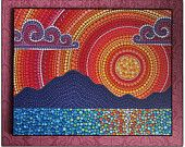 Colorful Print Laminated on woodblock- Beautiful Sunset