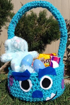 Sulley Easter Basket available on https://www.facebook.com/CrochetingSweetie