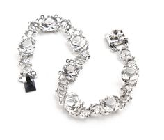 Vintage 12K White Gold Filled Rhinestone Bracelet - 1940s Faceted Glass Jewelry / Clear Crystals by Maejean Vintage on Etsy, $45.00