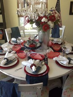 The Style Sisters: RED WHITE AND BLUE TABLESCAPE- Rusty Cloche and Bandanas