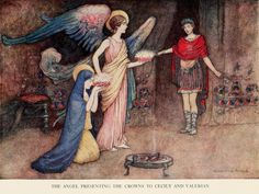 Warwick Goble. The Angel presenting the Crowns to  Cecily and Valerian - The Complete Poetical Works of Geoffrey Chaucer (1912)
