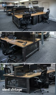 Discover the Grand Artisan Desk by Steel Vintage. A perfect desk for home or commercial office use Available in 9 sizes and various finishes. Welded Furniture, Industrial Design Furniture, Office Furniture Design, Industrial Office, Steel Furniture, Modern Industrial, Furniture Projects, Rustic Furniture, Cool Furniture