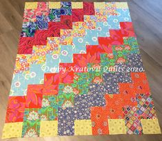 Revisited a 25 year old pattern of mine published in Quilt Magazine. Let the bold fabric do all the work! 25 Years Old, Let It Be, Quilts, Fabric, Projects, Pattern, Color, Tejido, Log Projects