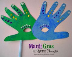 Mardi Gras Handprint Mask Craft