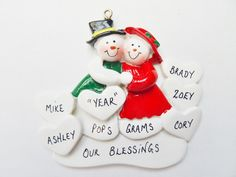 Grandparents Ornament with 5 Grandkids-Personalized Christmas Ornament for Grandparents with 5 Grandchildren- Grandparents Personalized Gift by OrindasOrnaments on Etsy