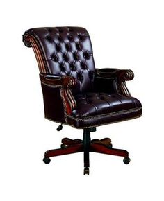 Traditional Brown Burgundy Executive Office Chair