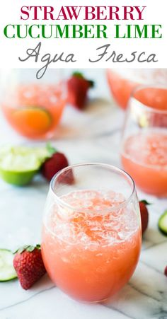 Cool and refreshing Strawberry Cucumber Lime Agua Fresca. This fruit infused water is free of refined sugars and perfect for sipping on hot summer days!