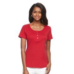 Women's Croft & Barrow® Henley Tee, Size: Medium, Med Red