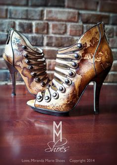 Hand painted steampunk shoes by Love, Miranda Marie. Perfect for a Steampunk Wedding!