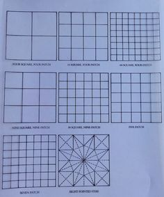 Outline drawing of some of the most common grid categories.