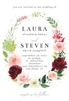 Romantic Roses Wreath - Wedding Invitation #invitations #printable #diy #template #wedding Romantic Roses, Romantic Weddings, Free Wedding Invitations, Gift Registry, You Are Invited, Response Cards, Reception, Wreaths, Illustrations