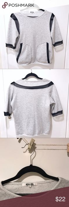 🖤💙 M E S H  D E T A I L Comfy Top / Sweatshirt MSHLL GIRL (bought in Europe in a popular Gate- A Store) • Gray & Black • Short Sleeve • Mesh Detailing ¥ Sport / Lounge / Active • Sweatshirt / Tee / Top • 2 front pockets • size S (slouchy style) • trendy and comfy • excellent gently worn condition • brand for exposure • bundle and save • 💙✨ MA K E  A N  O F F E R ✨💙 Zara Tops Sweatshirts & Hoodies