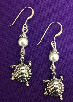 Turtle Earrings - on sterling silver earwires with pearl accent beads, delta zeta mascot - pinned by pin4etsy.com