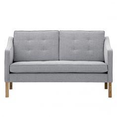 Sofa Risor (2-Sitzer) - Webstoff - Stoff Saia Hellgrau