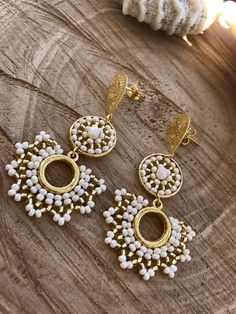 Diy Jewelry, Jewelry Accessories, Jewelry Necklaces, Jewelry Making, Jewellery, Bridal Earrings, Bead Earrings, Earrings Handmade, Handmade Jewelry