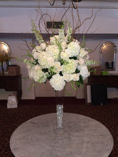 hydrangea and willow centerpiece for a special table