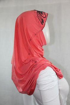 beaded hijab - pink