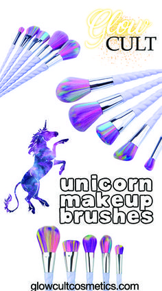 Pretty and colorful unicorn makeup brushes ✨ get them at glowcultcosmetics.com