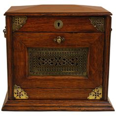 Vintage 1900s Pipe Cabinet and Humidor in Tiger Oak
