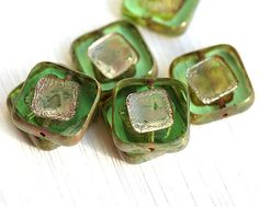 Czech glass beads Square beads  Antique Green Luster  by MayaHoney
