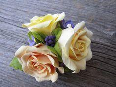 Hair clip polymer clay flowers Three roses by FloraAkkerman, $25.00