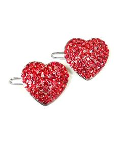 Red Rhinestone Covered Heart Barrette Set of 2 #shoplately