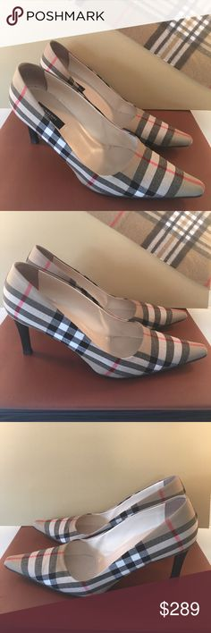 ⭐️BURBERRY BEAUTIFUL HEELS 💯AUTHENTIC BURBERRY LOVELY HEELS 100% AUTHENTIC. TRUE HIGH END STYLE AND LUXURY. SO PRETTY . THE MOST RECOGNIZABLE PRINT FOR BURBERRY. THESE ARE EYE CATCHERS. THE ARE THE COLOR COMBINATION BLACK , WHITE , TAN , RED . THE HEEL HEIGHT IS 3 INCHES THEY REALLY ARE BEAUTIFUL IN SIZE 39.5 WHICH CONVERTS TO A 9.5. ONE SHOE HAS TING TIP WEAR AND SIDE SNAG WHICH CAN BE SEEN IN PICTURES. NO STAINS ON EXTERIOR FABRIC. REALLY OVERALL JUST LOVELY. Burberry Shoes Heels