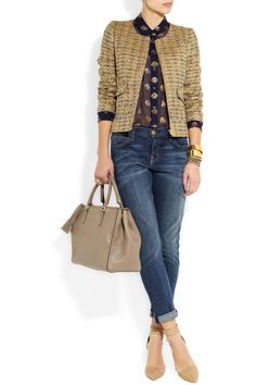 """Thats Not My Age. Crew """"Chanel""""-style jacket and jeans. Jeans at work with a jacket Mode Outfits, Casual Outfits, Fashion Outfits, Mode Rock, Chanel Style Jacket, Pull Gris, Summer Jacket, Mode Chic, Over 50 Womens Fashion"""