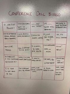 """Anyone who's ever had a conference call for work can relate to this. Except for the parts about seeing the screen and the slide, it was all just as true twenty years ago as it is today. next time your boss wants to schedule a conference call, you can send this to all expected participants ahead of time, then listen for everyone to try avoiding each phrase. The best part of the meeting will be when someone yells """"Bingo!"""" I don't know who drew this Bingo card, but OyVeyzMeir p..."""