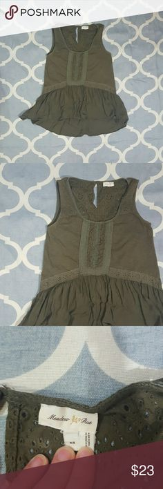"Meadow Rue Anthropologie Green XS Blouse Peplum Meadow Rue by Anthropologie women's blouse. Size XS.  Hunter green. Sleeveless. Peplum style. Body 100% cotton. Length: 23""  Chest: 16""  In good used condition. B927 &e Anthropologie Tops Blouses"