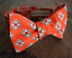 Orange With White Accents Bow Tie Handmade by Lord Wallington