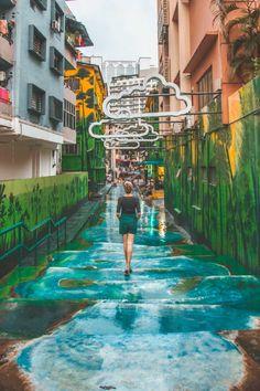 Best Things to do in Kuala Lumpur : Bukit Bintang Street Art Waterfall Clouds, Kuala Lumpur Laos, Places To Travel, Places To See, Travel Destinations, Malaysia Travel Guide, Malaysia Trip, Malaysia Tourism, Malaysia Truly Asia, Kuala Lumpur Travel