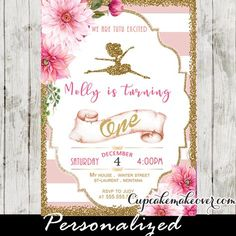 Ballerina birthday invitations featuring a little ballet dancer in faux gold foil against a pink and white striped backdrop decorated with a beautiful flower arrangement and framed in faux gold glitter. A beautiful invite for a ballet birthday party. #cupcakemakeover
