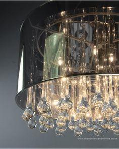 Ceiling Lights, Laveda Contemporary Chrome Pendant Light Translucent Chrome Shade Glass Drops Chandelier