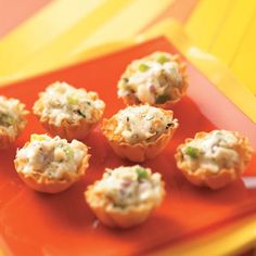 Crab Salad Tarts ~ These little bites are as easy as they are elegant. Guests will never know you made and froze them weeks ago!