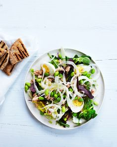 Tonnikala-edamamesalaatti Scandinavian Food, Asparagus, Cabbage, Salads, Tacos, Pizza, Dinner, Vegetables, Fruit