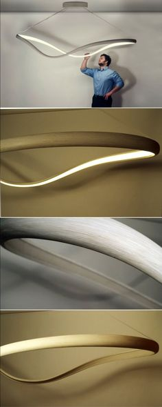This continuous loop of bent wood emits light from embedded LEDs Designer John Procario has taken his love for sculpture and lighting, and made it into a sculptural wooden lighting piece named 'Flux I'. The light, which never looks the same from any two perspectives almost appears to change shape as you move around it. The sculptural lamp is made from one continuous loop of free-form bent timber, in this case, it's bleached white oak.