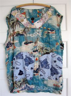 283da002 Altered HAWAIIAN SHIRT Vintage Hawaiiana Fabrics BEACH Cover Up Dress my  bonny Upcycled Shirts, Upcycled